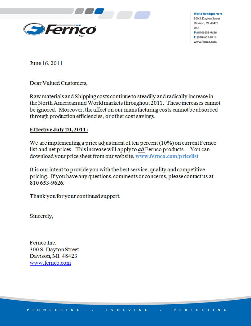 price increase letter to customers template price increase letter levelings 16724
