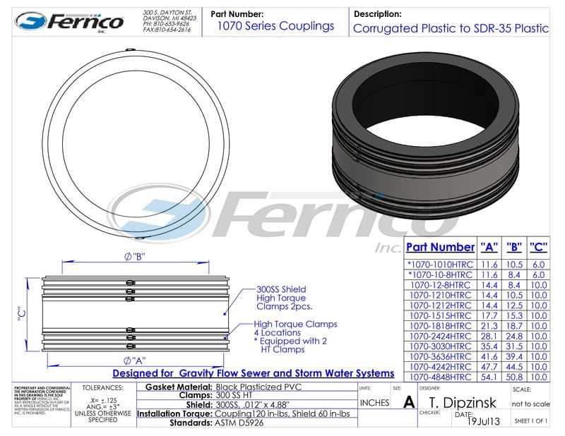 1070 Corrugated Pipe Coupling